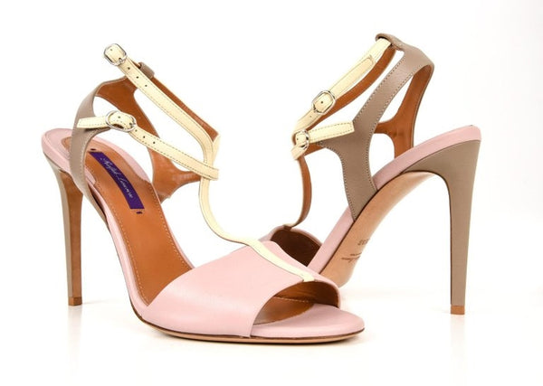 Ralph Lauren Shoe Tri Color High Heel T Strap Sandal Ankle Detail 39.5 / 9.5