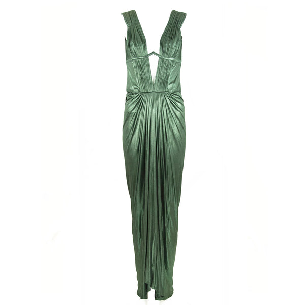 Roberto Cavalli Green Metallic Low V Neck Gown