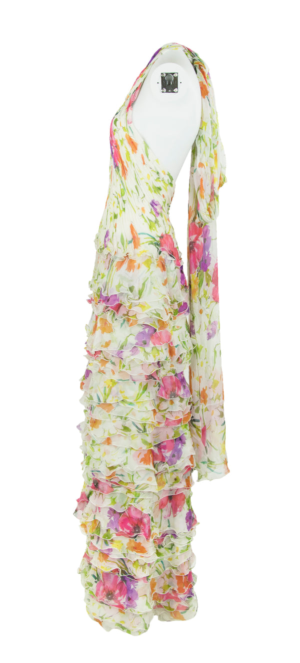 Ralph Lauren Collection White Floral Chiffon Gown