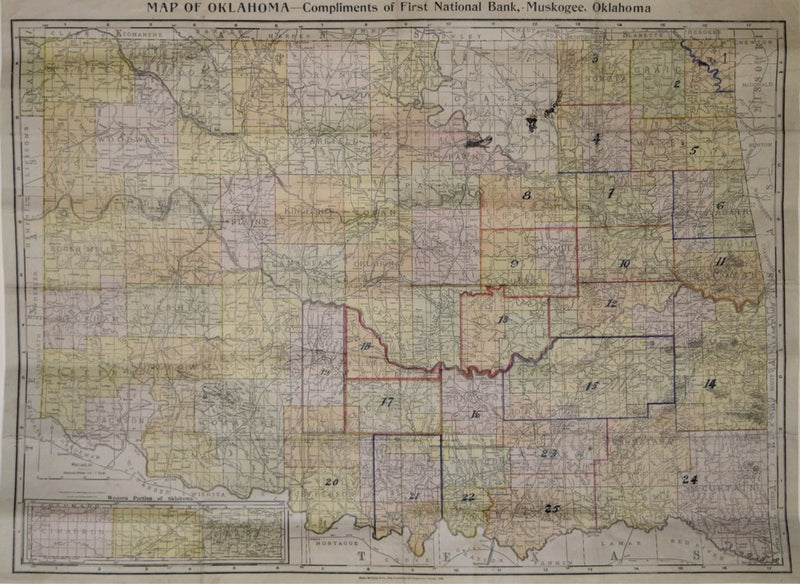 RAND MCNALLY AND COMPANY, MAP OF OKLAHOMA - COMPLIMENTS OF FIRST NATIONAL BANK, MUSKOGEE, OKLAHOMA