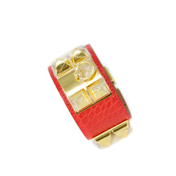 Hermes Red Alligator Collier de Chien Bracelet