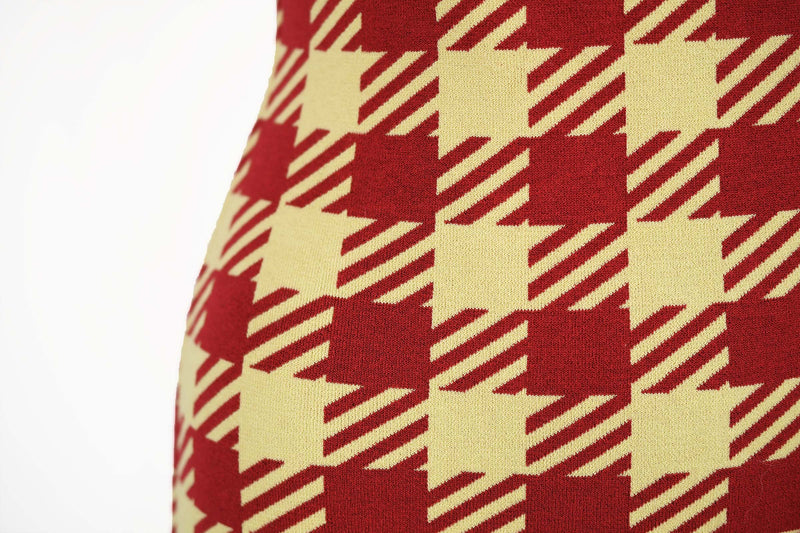 Vintage Alaia Red Houndstooth Fitted Dress