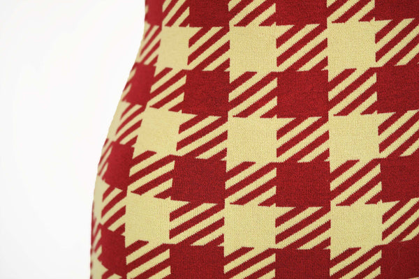 Vintage Alaia Red Houndstooth Fitted Dress - Size S