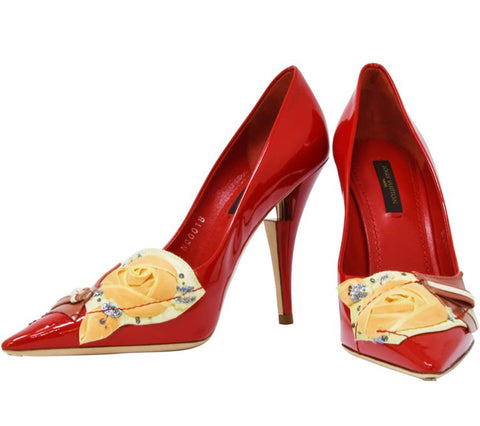 Louis Vuitton French Riviera Red Patent Leather Pumps