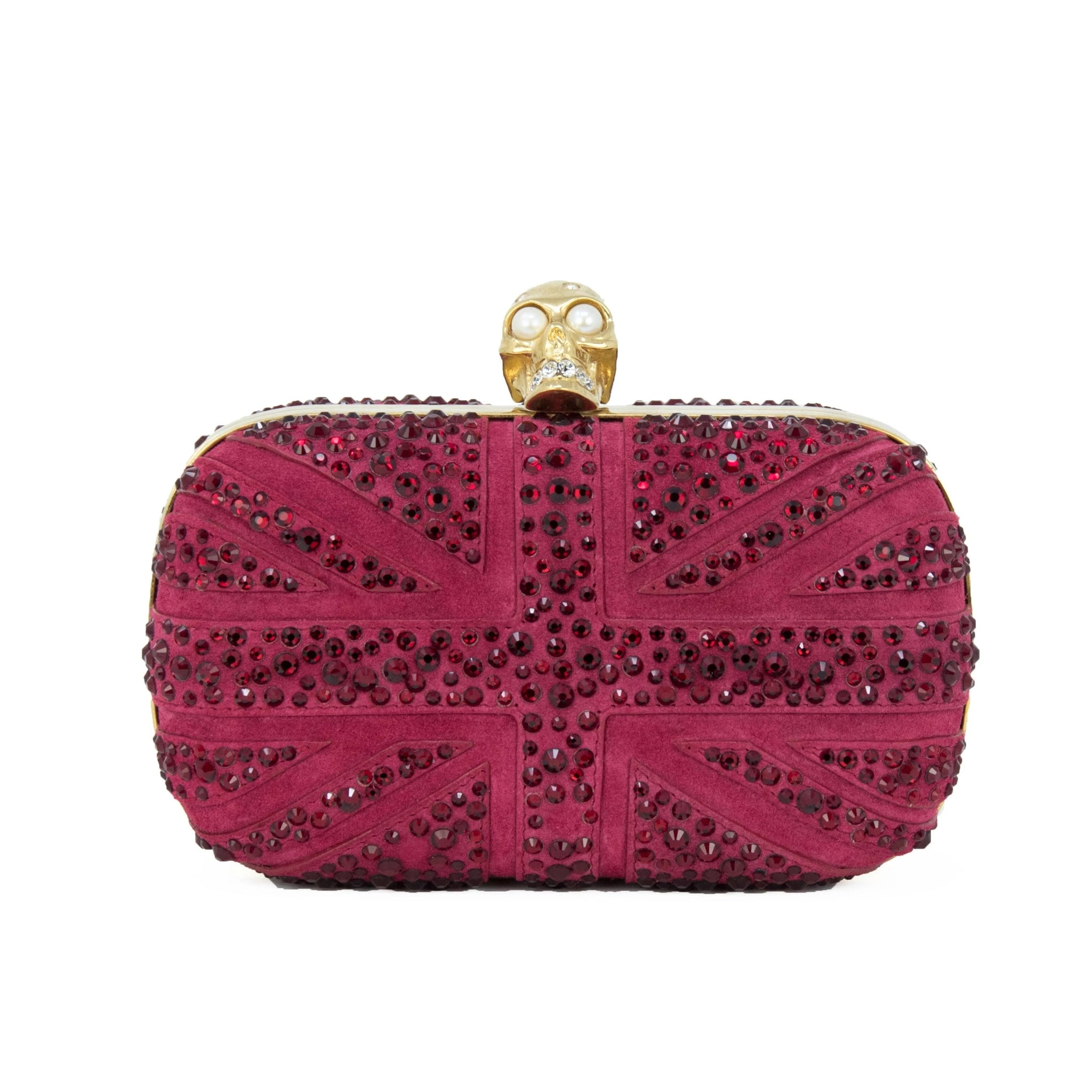 Alexander McQueen Dark Red Suede British Flag Clutch