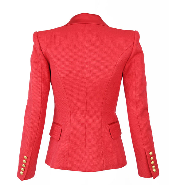 Balmain Red Pique Blazer with Satin Collar