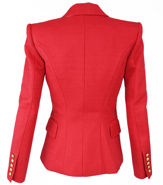 Balmain Red Pique Double Breasted Blazer - Size FR 34
