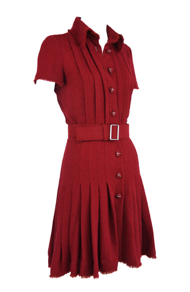 Chanel Maroon Pleated Dress