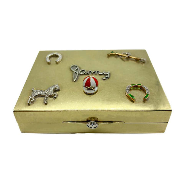 Retro Cartier Polo Theme Diamond Emerald Gold Box