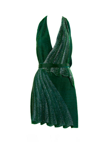 Roberto Cavalli Green Beaded Short Dress