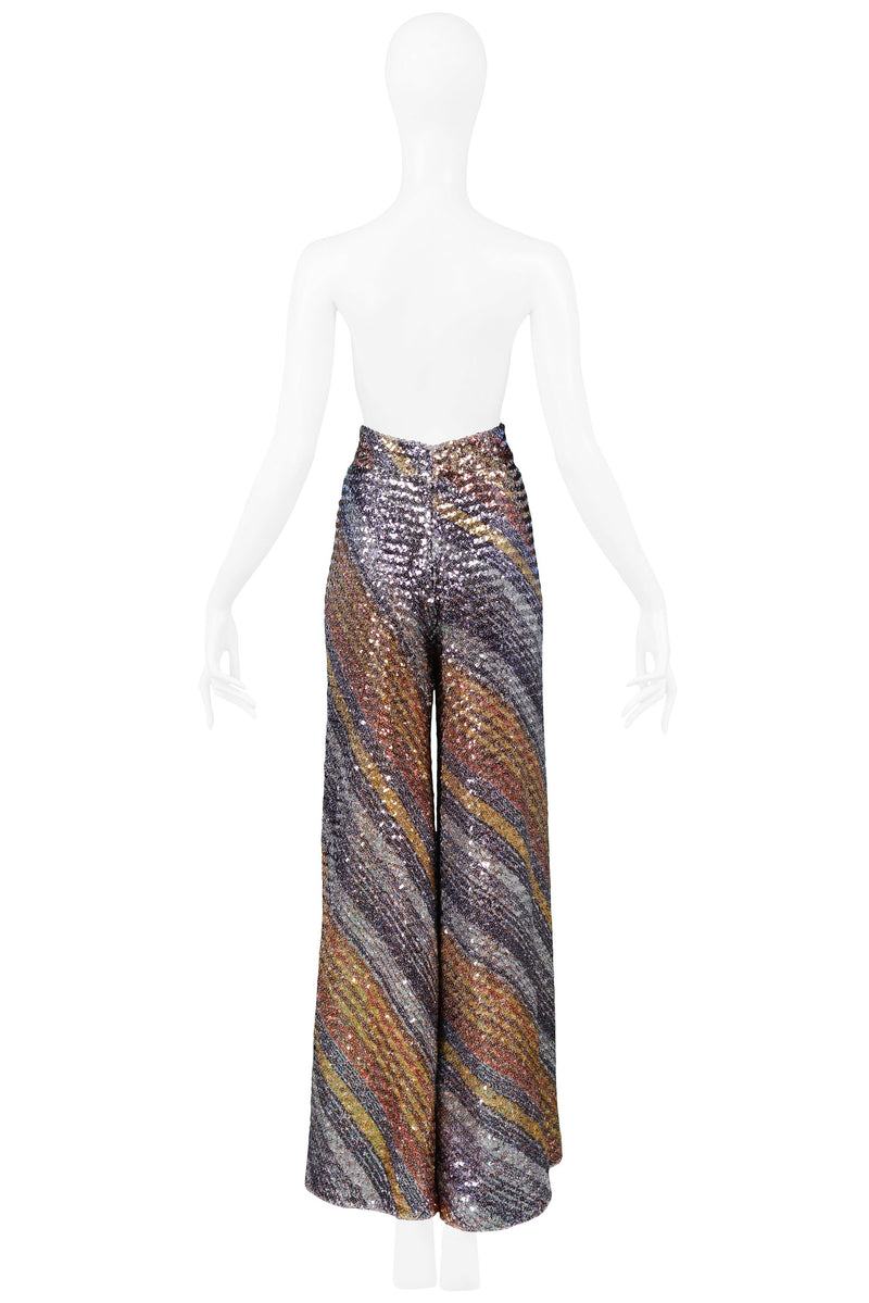 SCAASI MULTICOLOR STRIPE SEQUIN FLARE PANTS 1970S