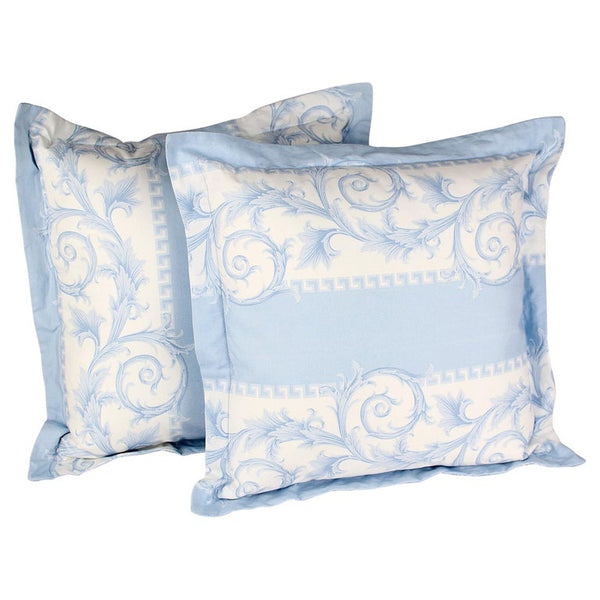 SET of TWO VERSACE BLUE and WHITE BAROCCO PRINT PILLOWS