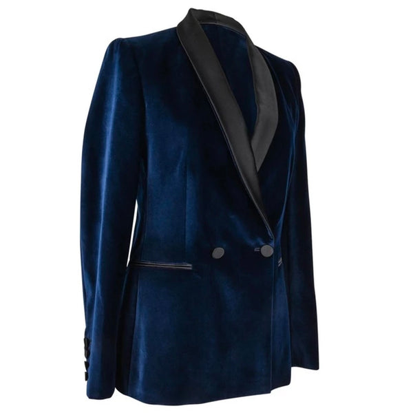 Stella McCartney Jacket Tuxedo Style Navy Velvet Black Trim 38 / 6