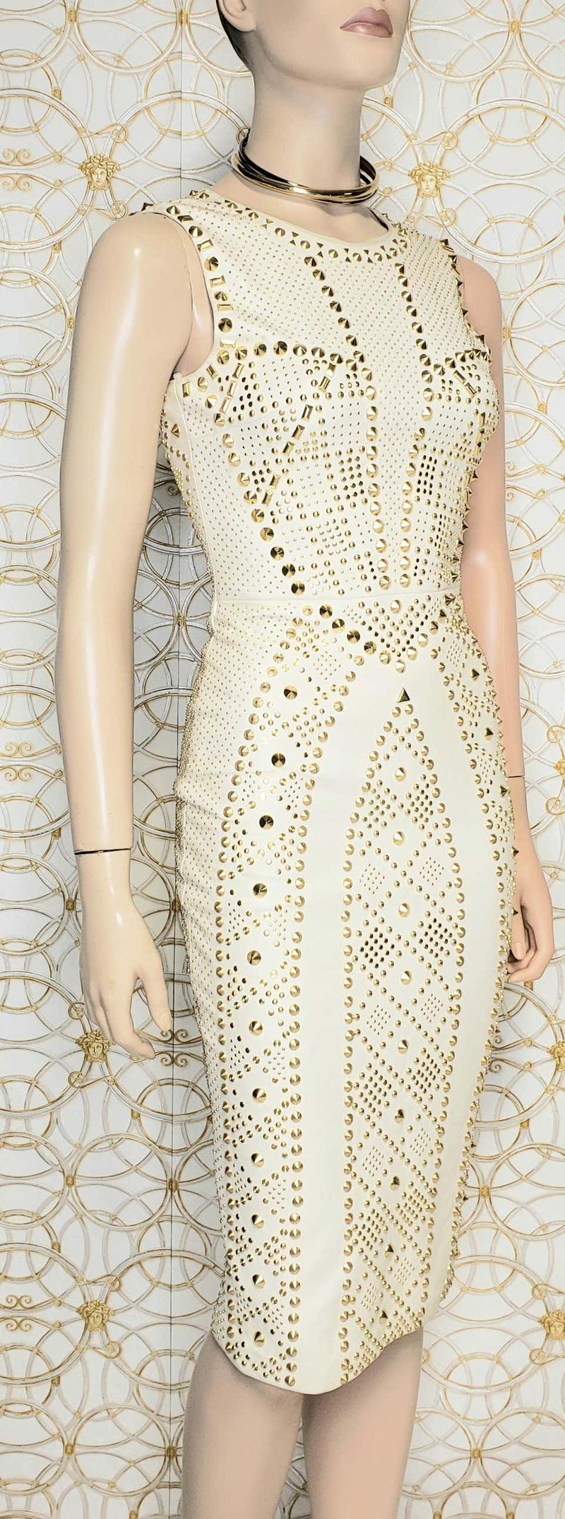 S/S 2012 look #27 VERSACE WHITE STUDDED EMBELLISHED LEATHER DRESS
