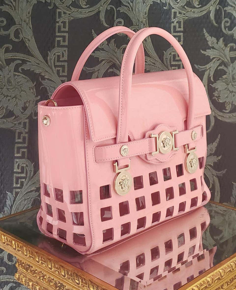 S/S 2015 look # 11 VERSACE PERFORATED PATENT PINK LEATHER BAG