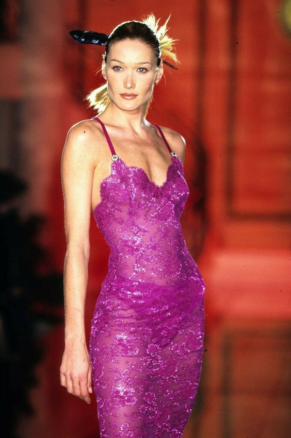 S/S 1996 ICONIC VINTAGE VERSACE ATELIER PINK LACE GOWN as seen in MET MUSEUM