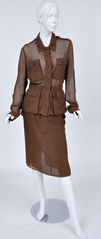 S/S 2002 Vintage Tom Ford for Yves Saint Laurent Cognac Silk Safari Suit