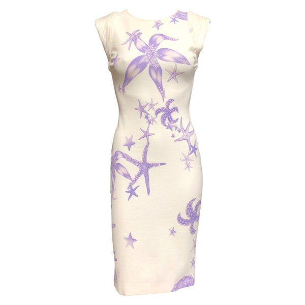VERSACE White Starfish and Seashell print dress