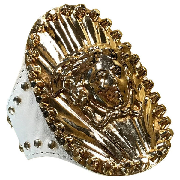 S/S 2012 Versace studded white leather cuff bracelet with Medusa