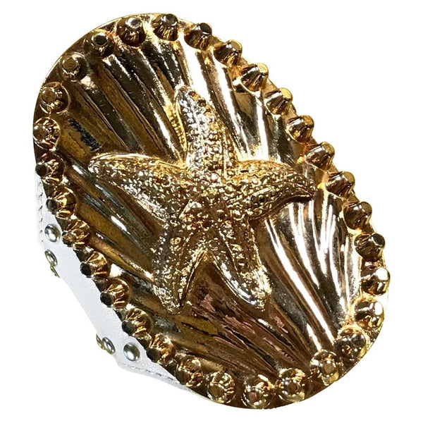 S/S 2012 Versace studded white leather cuff bracelet with Starfish