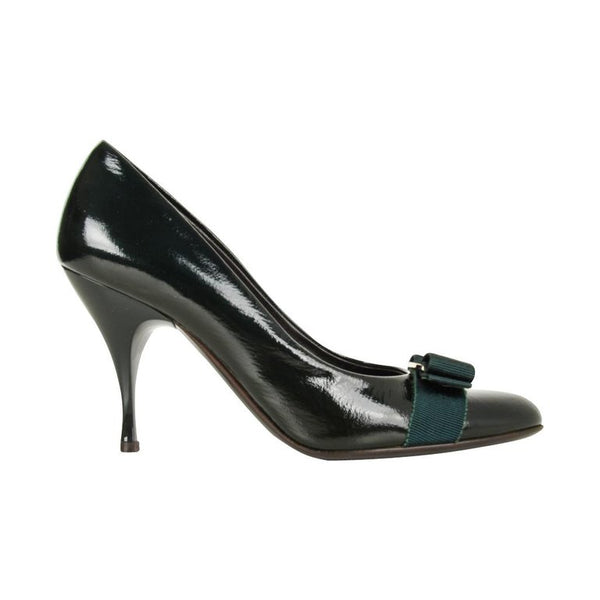 Salvatore Ferragamo Pump Dark Green Charming Bow 37.5 / 7.5