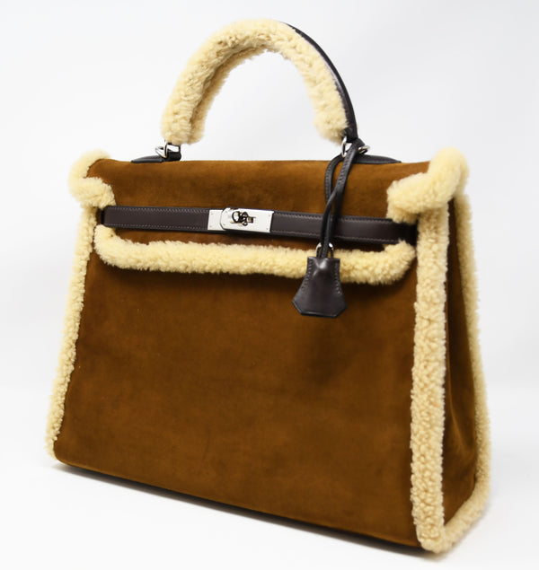 Hermès Kelly Sellier 35cm Teddy Shearling Bag PHW
