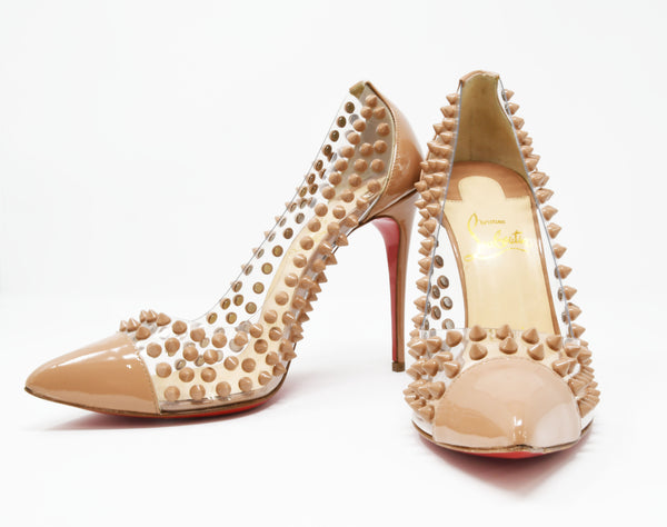 Christian Louboutin 'Spike Me' PVC Patent Leather Pointed Toe Pumps Nude