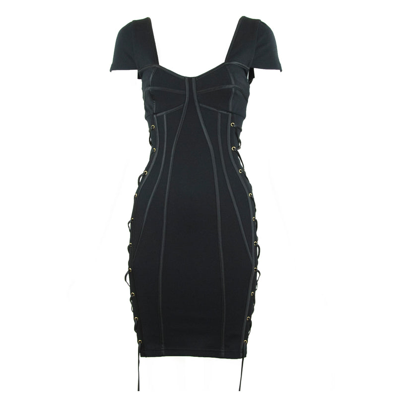 Temperley London Black Fitted Dress with Satin Covered Seams