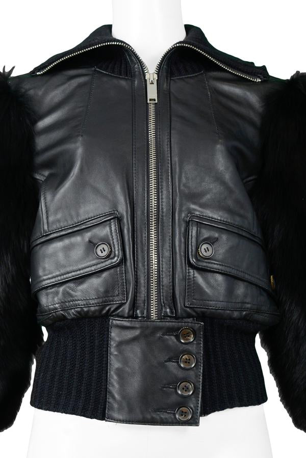 GUCCI BY TOM FORD LEATHER & FOX FUR JACKET 2003