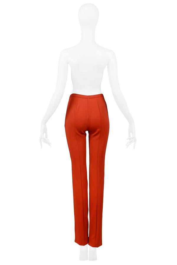 GUCCI by Tom Ford RED HIGH WAISTED PANTS WITH FRONT ZIP