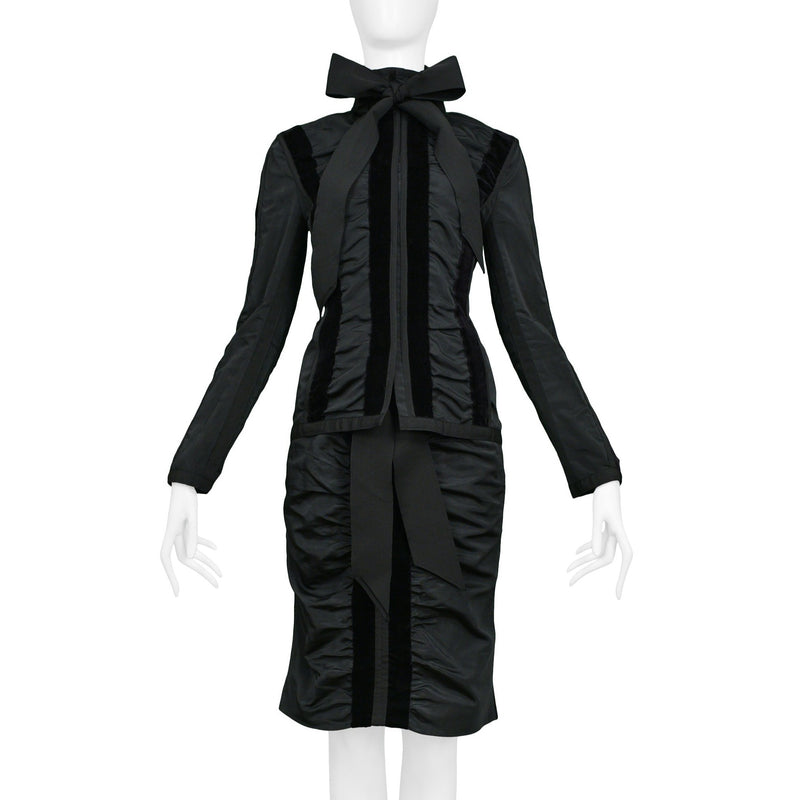 TOM FORD YSL BLACK TAFFETA TUXEDO SKIRT ENSEMBLE