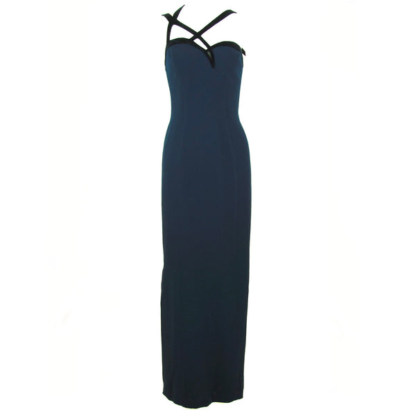 Thierry Mugler Navy Silk & Black Velvet Gown