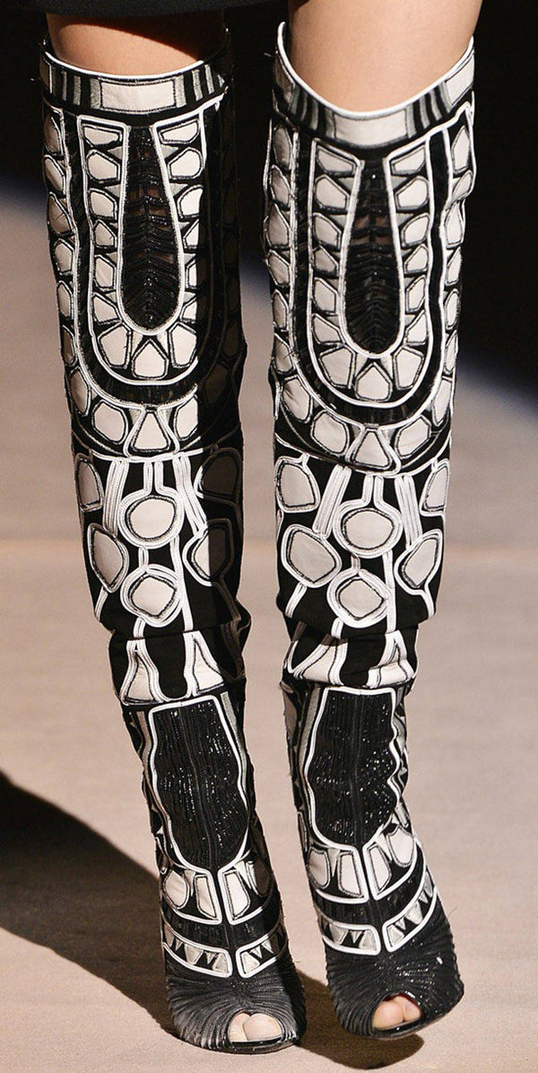 TOM FORD BLACK and WHITE OVER THE KNEE BOOTS with OPEN TOE