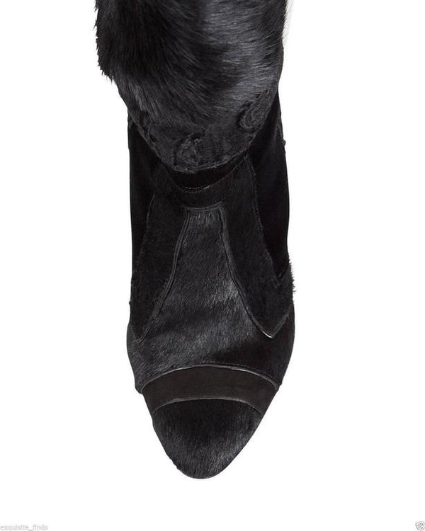 TOM FORD Geometric Black Patchwork Fur Over-the-Knee Boots