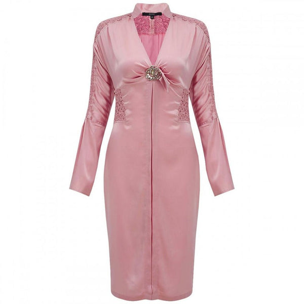TOM FORD for GUCCI CRYSTAL EMBELLISHED PINK SILK DRESS
