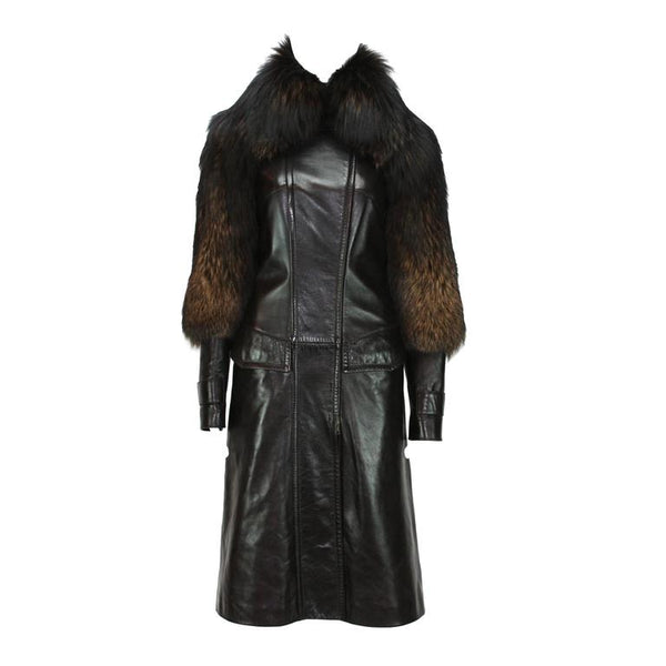TOM FORD for GUCCI F/W 2003 LEATHER COAT w/ FUR