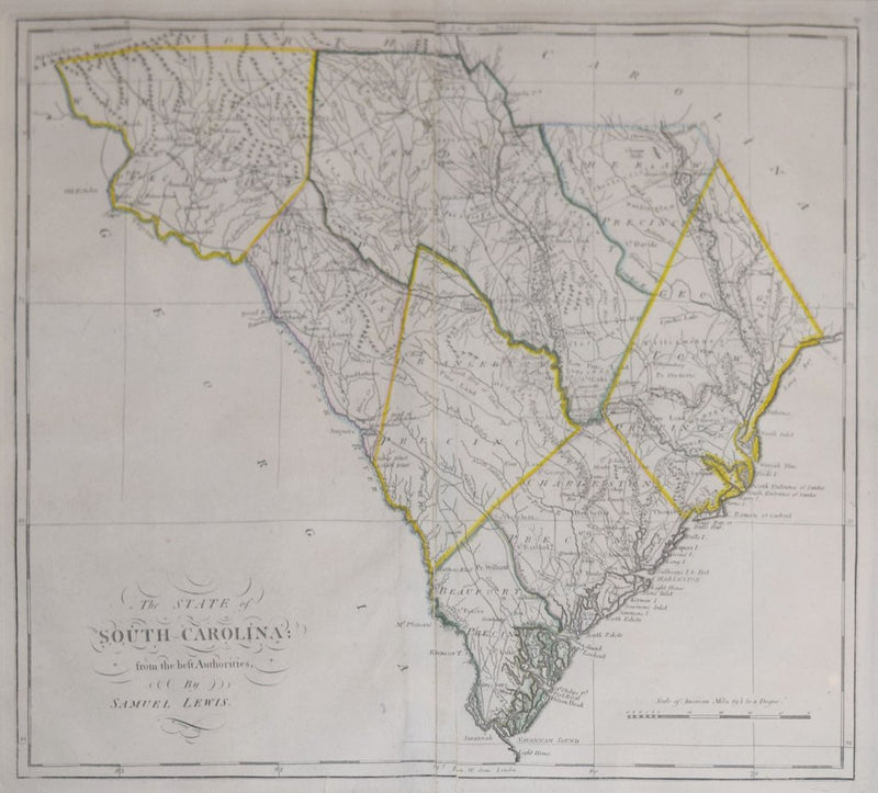SAMUEL LEWIS & MATTHEW CAREY (1760-1839), THE STATE OF SOUTH CAROLINA FROM THE BEST AUTHORITIES