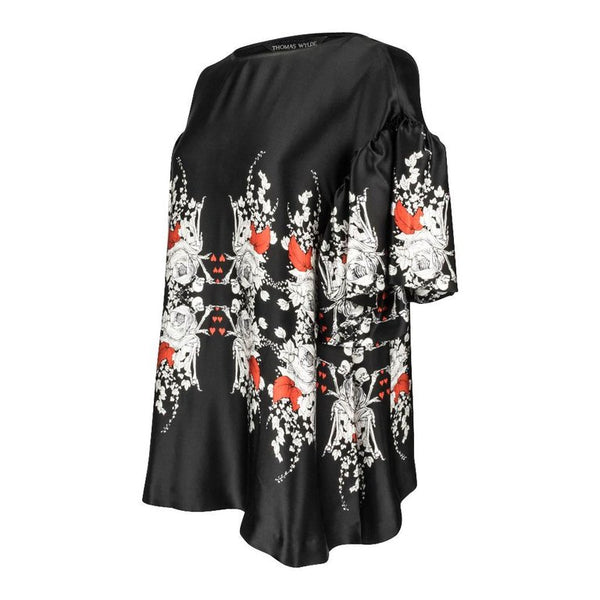 Thomas Wylde Top Black White Skeletons Red Hearts Silk