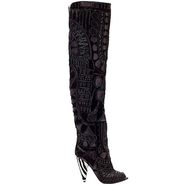 Tom Ford Black Over The Knee Boots With Open Toe