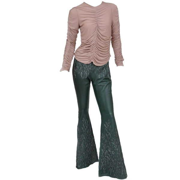 Tom Ford for Gucci Embroidered Leather Pants and Silk Ruched Top