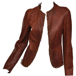 Tom Ford for YSL Ring Embellished Safari Cognac Leather Jacket, S/S 2002