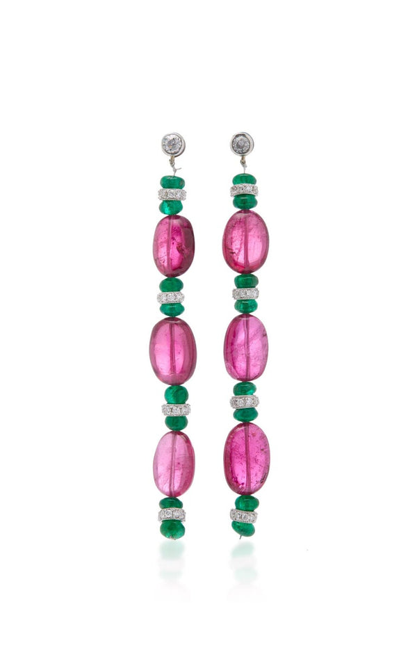 Tourmaline Emerald Diamond Ear Pendants