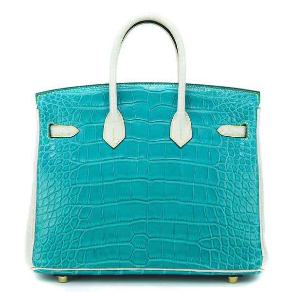 Hermes Birkin Bag 25cm Beton and Bleu Saint Cyr Alligator GHW