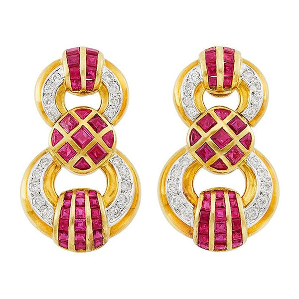 Two-Color Gold, Ruby and Diamond Pendant-Earclips