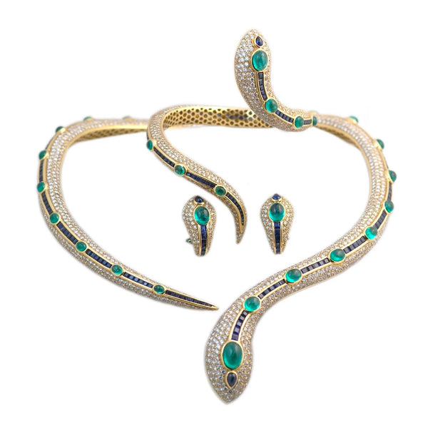 Important Emerald Sapphire Diamond Gold Snake Set