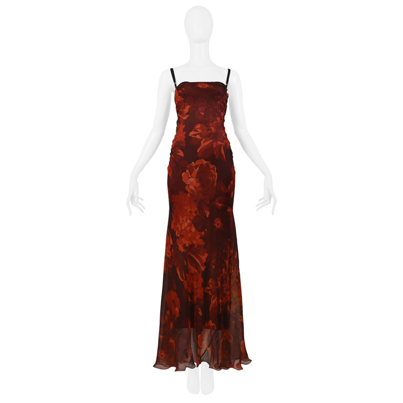 DOLCE & GABBANA RED FLORAL SILK GOWN