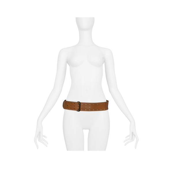 ALAIA BROWN CONGAC PERFORATED BELT 1986