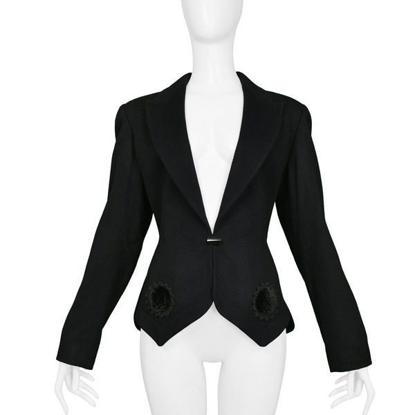 ALAIA BLACK FITTED BLAZER WITH VELVET APPLIQUE 1991