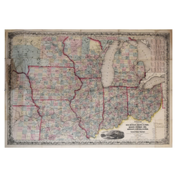 JOSEPH HUTCHINS COLTON (AMERICAN, 1800-1893). GUIDE THROUGH OHIO, MICHIGAN, INDIANA, ILLINOIS, MISSOURI, WISCONSIN, IOWA, MINNESOTA, NEBRASKA AND KANSAS…