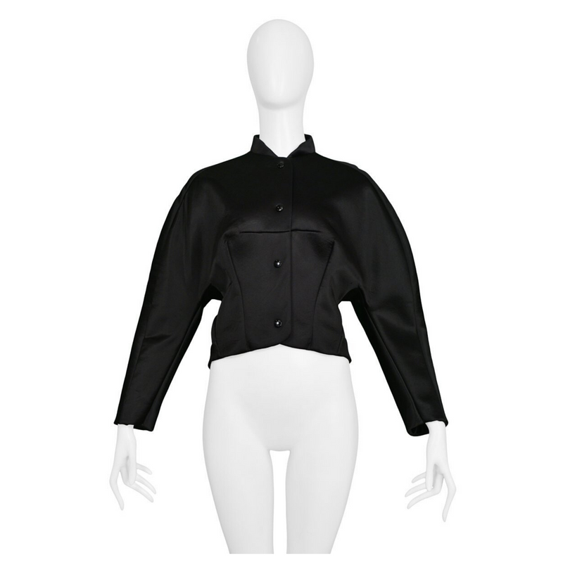 BALENCIAGA BY GHESQUIERE BLACK SATIN SNAP EVENING JACKET